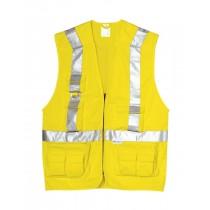 Vesta de inalta vizibilitate, culoare galben. Cu benzi reflectorizante. Material: tercot, 270 gr/mp