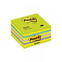 Cub notite autoadezive Post-it Lollipop neon, 76 x 76 mm, 450 file, verde/galben/albastru neon