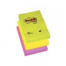 Notite autoadezive liniate Post-it, 102 x 152 mm, 100 file, culori neon: verde, galben, roz