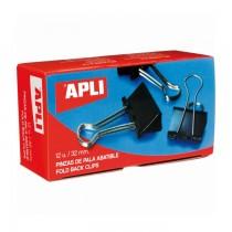 Clipsuri metalice Apli, 32 mm, negru, 12 bucati/cutie