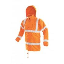 Jacheta inalta vizibilitate, culoare orange, cu benzi reflectorizante,  impermeabila, din poliester Oxford. Captuseala din poliester
