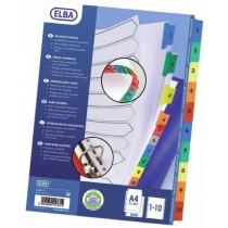 Index carton alb Mylar numeric 1-10, margine PP color, A4 XL, 170g/mp, ELBA