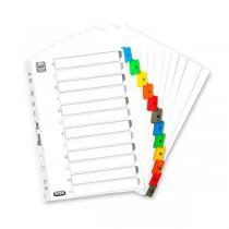 Index carton alb Mylar numeric 1-12, margine PP color, A4 XL, 170g/mp, ELBA