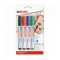 Marker special Edding 4500, pentru textile, varf rotund, 2 - 3 mm, 4 bucati/blister