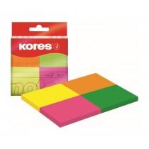 Notite autoadezive Kores, 4 culori neon, adeziv non-permanent, 40 x 50 mm