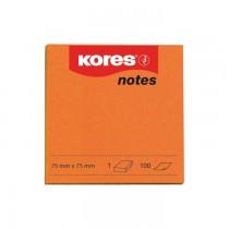 Notite autoadezive Kores, 75 x 75 mm, 100 file/bucata, portocaliu