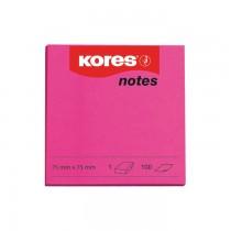Notite autoadezive Kores, 75 x 75 mm, 100 file/bucata, magenta