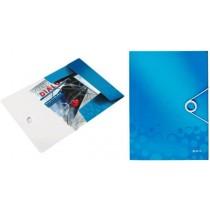 Mapa cu elastic LEITZ Wow, plastic PP - albastru metalizat