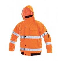Jacheta in talie de inalta vizibilitate, culoare orange, din poliester Oxford. Cu benzi reflectorizante. Impermeabila. Maneci detasabile. Captuseala din poliester