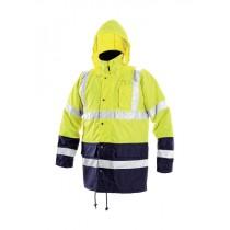 Jacheta inalta vizibilitate, culoare galben/bleumarin, cu benzi reflectorizante, impermeabila, din poliester Oxford. Captuseala din poliester