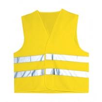 Vesta de inalta vizibilitate, culoare galben. Cu benzi reflectorizante. Material: poliester, 250 gr/mp