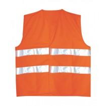 Vesta de inalta vizibilitate, culoare orange. Cu benzi reflectorizante. Material: poliester, 250 gr/mp
