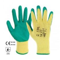 Manusi din tricot de poliester, cu strat de latex verde pe degete si in palma
