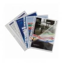 File din plastic, A4, deschidere sus si lateral stanga, 100 bucati/set