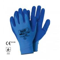 Manusi din nailon, cu strat de spuma nitrilica in palma si pe degete. Finisaj in relief in palma
