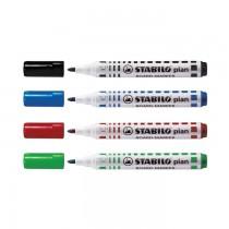 Marker pentru tabla Stabilo Plan, varf rotund 2.5 - 3.5 mm, 4 culori/set