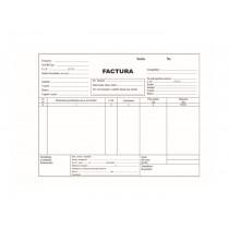 Formulare pe hartie autocopiativa: facturier fara TVA, 3 exemplare, alb/color/color, fata, A5