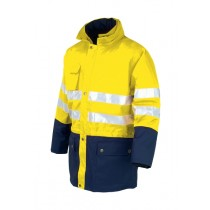 Jacheta 3in1 de inalta vizibilitate, culoare galben/bleumarin, impermeabila, din poliester Oxford cu strat de PU. Interiorul se poate purta separat, fiind certificat