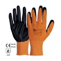 Manusi din tricot de poliester cu strat de nitril negru in palma si pe degete