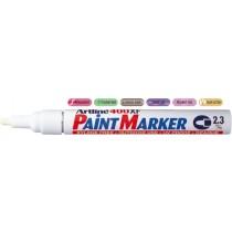 Marker cu vopsea ARTLINE 400XF, corp metalic, varf rotund 2.3mm - alb